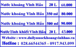Bảng giá nước khoáng Vĩnh Hảo quân Bình Tân